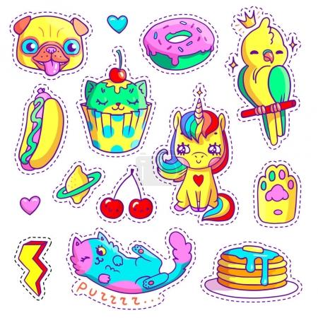 Neon stickers set in 80s-90s pop art comic style