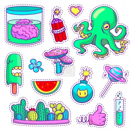 Illustration for Set of cool neon patch badges and pins in vector. Different stickers in pop art style with cartoon plants, food and things. - Royalty Free Image