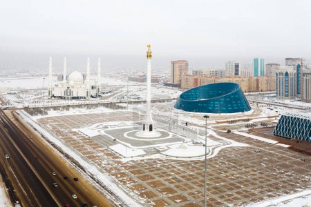 View from above on Independence Square from the Palace of Creativity, Palace of Independence and Monument in Astana, Kazakhstan