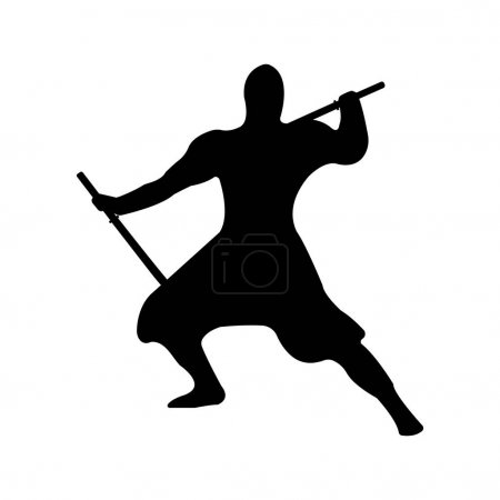 Ninja Warrior Silhouette on white background.