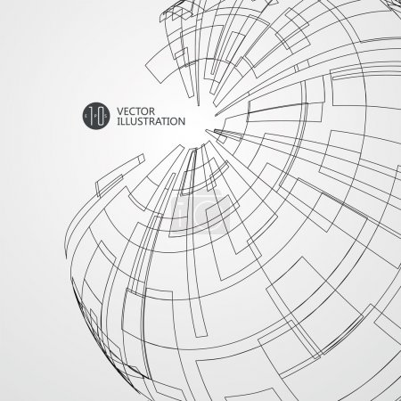 Abstract wireframe, science and technology illustration.