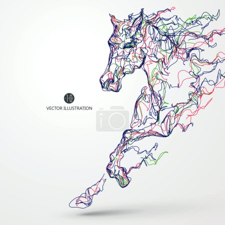 Running horse, colored lines drawing, vector illustration.