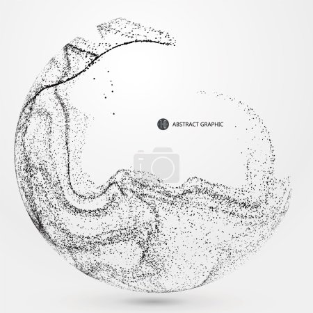 Illustration for Irregular abstract graphics, dynamic particle composition. - Royalty Free Image