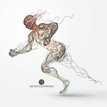 Illustration for Running man, colored lines drawing, vector illustration. - Royalty Free Image