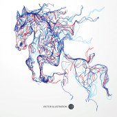 Running horse colored lines drawing vector illustration