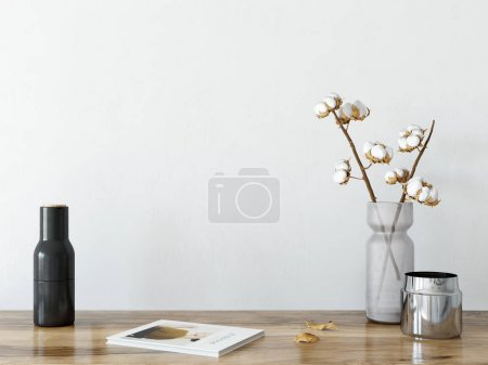mock up wall interior. Scandinavian style.