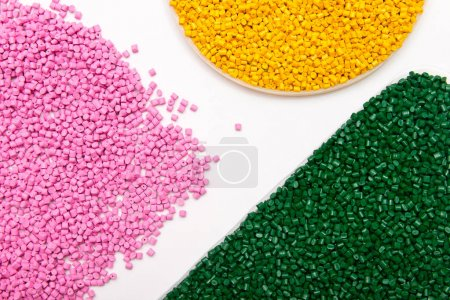 The plastic granules. Polymeric dye isolated on white background