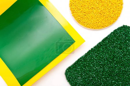 The plastic granules. Polymeric dye and polypropylene , polystyr