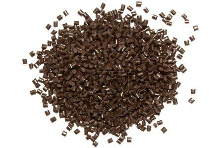 Plastic pellets. Polypropylene granules of brown