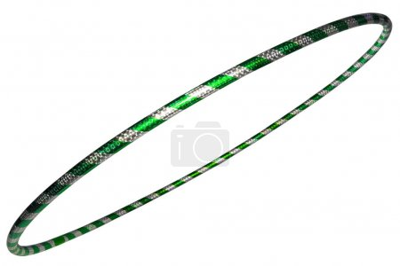The hula Hoop silver with green closeup Isolated on white backgr