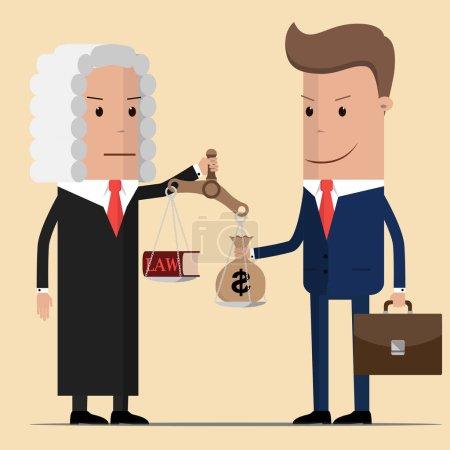 Illustration pour Un homme d'affaires malhonnête donnant un sac d'argent au juge. Situation de corruption des entreprises - image libre de droit