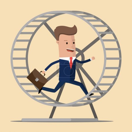 Businessman running in a hamster wheel. Vector illustration