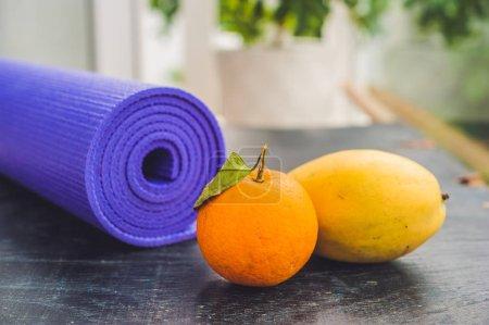 Yoga mat,  orange and mango