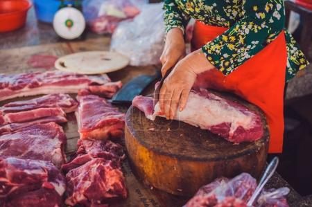 Raw meat on the Vietnamese market