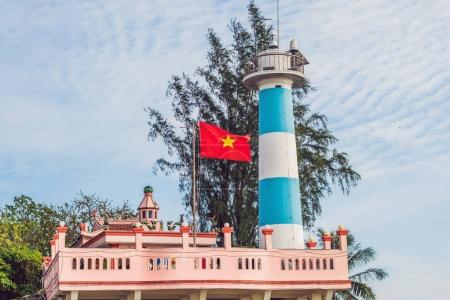 Dinh Cau lighthouse symbol of the island Phu Quoc, Vietnam. Phu Quoc is a Vietnamese island off the coast of Cambodia in the Gulf of Thailand.