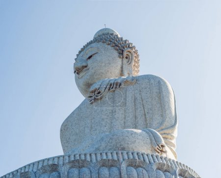 Big Buddha statue Was built on high hilltop of Phuket, Thailand. Can be seen from a distance.