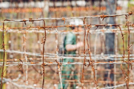 Barbed wire, a fence in prison and the silhouette of a prison guard on the background.