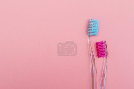 Photo pour Deux brosses à dents roses et bleues sur fond rose - image libre de droit