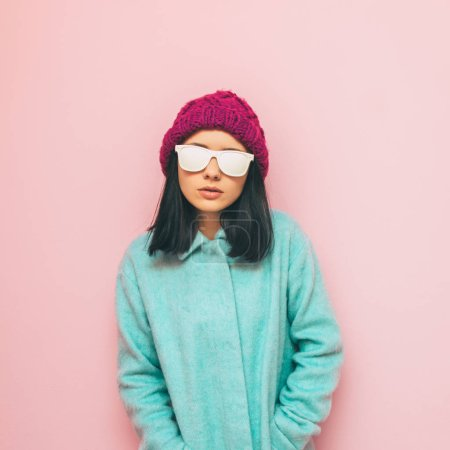 Girl in cozy winter clothing