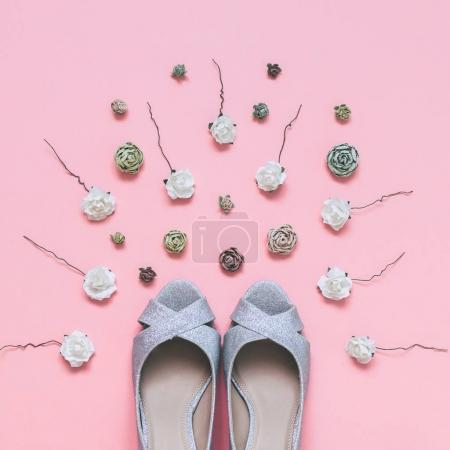 fashionable wedding shoes and roses