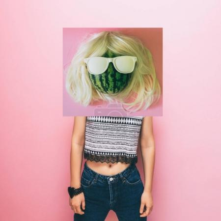 collage image of watermelon in wig and sunglasses on female model
