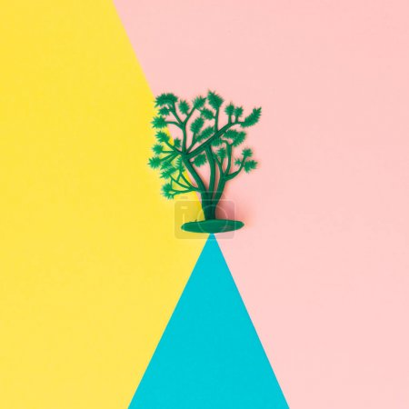 Photo for Plastic tree on mountain, concept of wilderness - Royalty Free Image