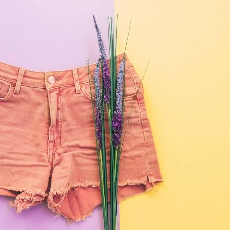 denim shorts and lavender flowers on colorful background