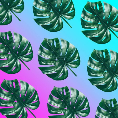 palm leaves on gradient background