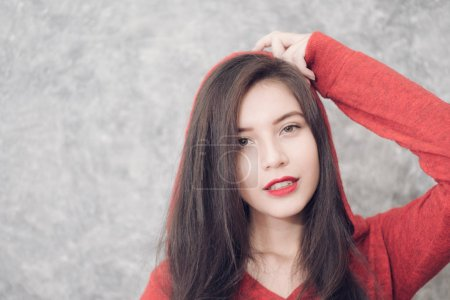 Photo for Beautiful young woman wearing warm fashionable winter clothes - Royalty Free Image