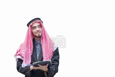 Photo for Arab business man standing on white background, business concept - Royalty Free Image