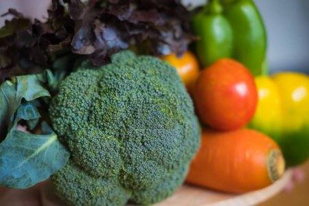 Photo for A selection of fresh vegetables for a heart healthy diet as recommended by doctors and medical professionals - Royalty Free Image