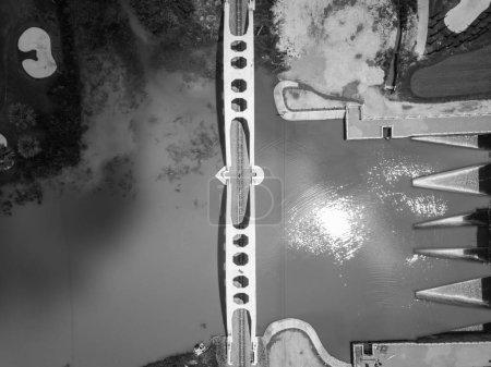 Photo pour Vue aérienne du dessus de la voie ferrée à travers les arbres, - image libre de droit