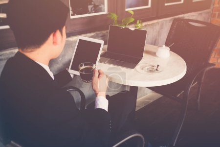 Photo for Portrait of happy businessman, Concept of young business people working at home - Royalty Free Image