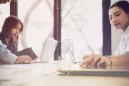 Photo for Good teamwork, workplace strategy, Businessmen meeting to discuss and consult on the future plans of their work together - Royalty Free Image
