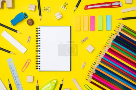 Photo for Minimal work space  Colorful background with many crayons, Top view flat lay - Royalty Free Image