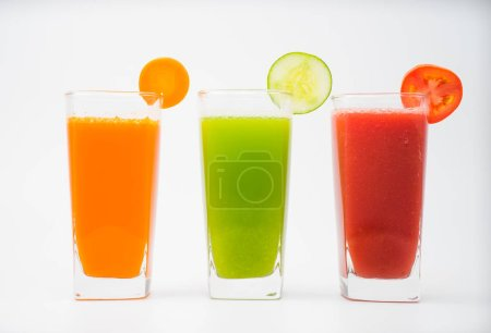 Photo for A selection of fresh vegetable juices for a heart healthy diet as recommended by doctors - Royalty Free Image