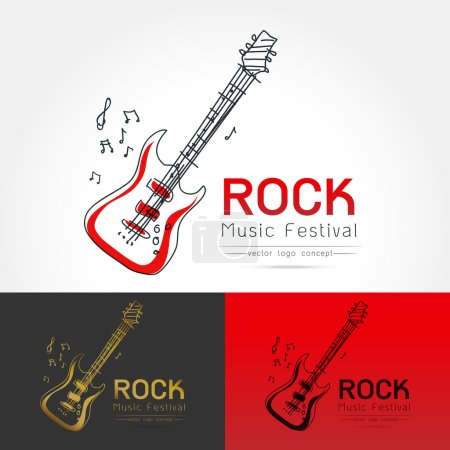 rock guitar logo vector