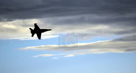 Silhouette of F18 Hornet fighter aircraft