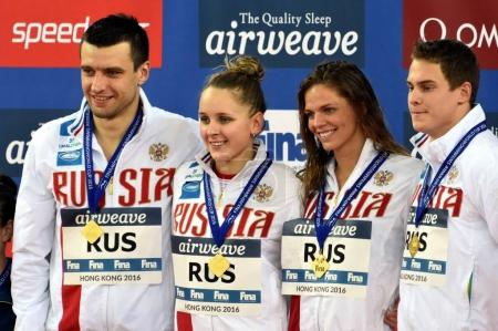 Winner team Russia at the Victory Ceremony