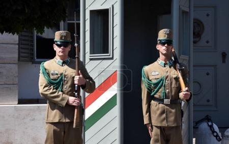 Changing of the Guards by the Hungarian Presidential Palace