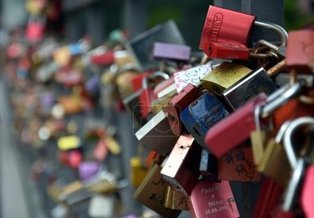 coloured padlocks to the Eiserner Steg iron bridge