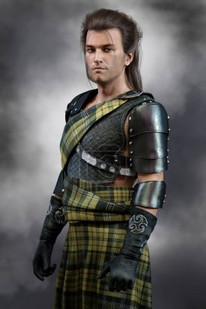 Photo for Handsome Scottish Warrior Prince wearing traditional tartan kilt and body armour - Royalty Free Image