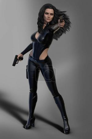 Beautiful brunette woman assassin holding two guns in fighting position