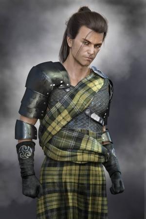 Photo for Moody Romantic Scottish Warrior Hero Man wearing stylised fictional traditional battle costume of Scotland - Royalty Free Image
