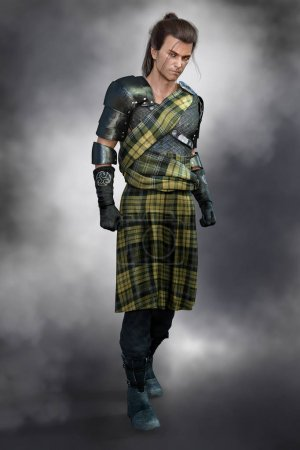Photo for Serious and moody handsome man wearing traditional Scottish battle dress in Highlander style - Royalty Free Image