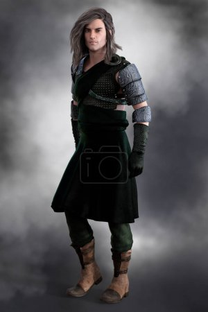Photo for High quality 3D render of a full male figure Scottish warrior, Laird or Prince. Ideal for book cover art work. - Royalty Free Image
