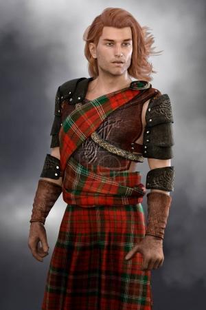Photo for Handsome reheaded Scottish Highland Warrior wearing kilt. - Royalty Free Image