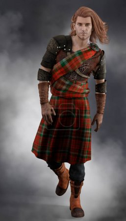 Handsome redheaded Scottish Highland Warrior weari...