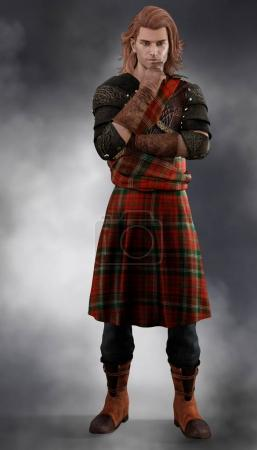 Photo for Full length CGI figure of a thoughtful romantic Scottish Highland Prince looking into the distance. Perfect image for ebook and book covers. - Royalty Free Image