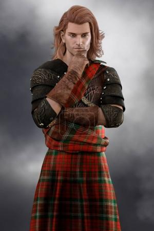Photo for Portrait sized CGI figure of a thoughtful romantic Scottish Highland Prince looking into the distance. Perfect image for ebook and book covers. - Royalty Free Image